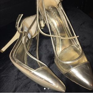 Metallic Gold and clear  BCBG pumps heels size 6.5